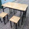 Mẫu Bàn ghế quán ăn GHZ-250 khung chân sắt mặt gỗ bán chạy nhất 2018