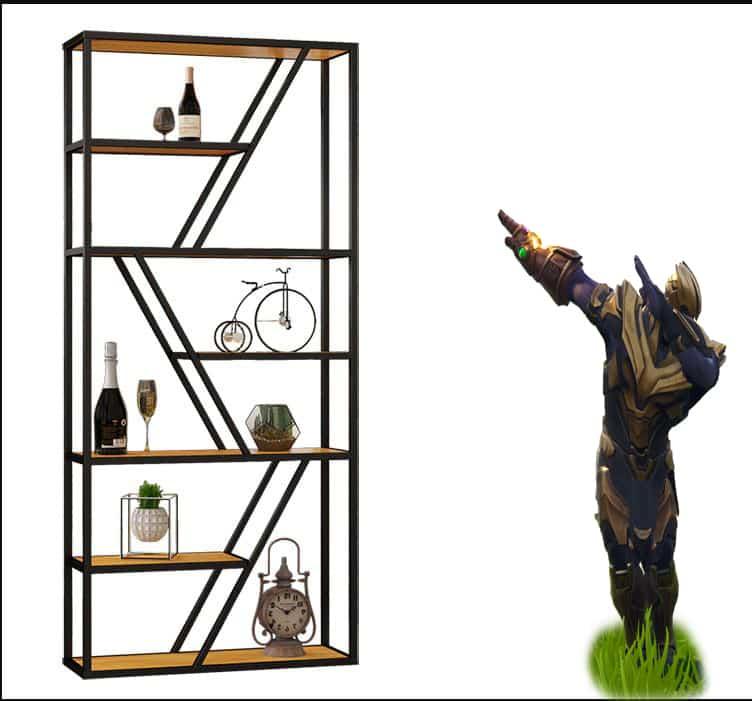 Kệ trang trí khung chân sắt mặt gỗ GHK-168
